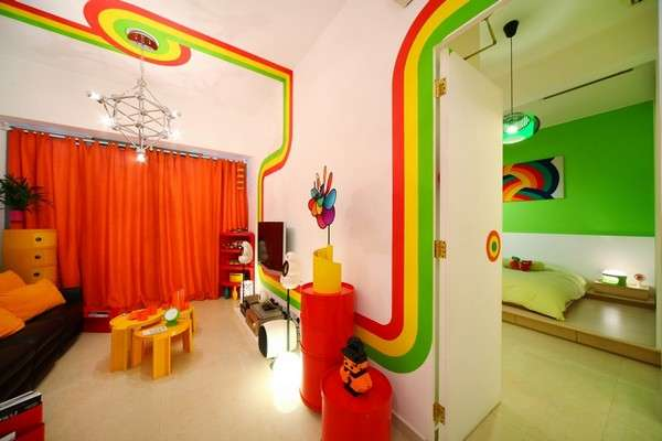 Radiant Striped Abodes : Rainbow Room, Design, Color, Bedroom