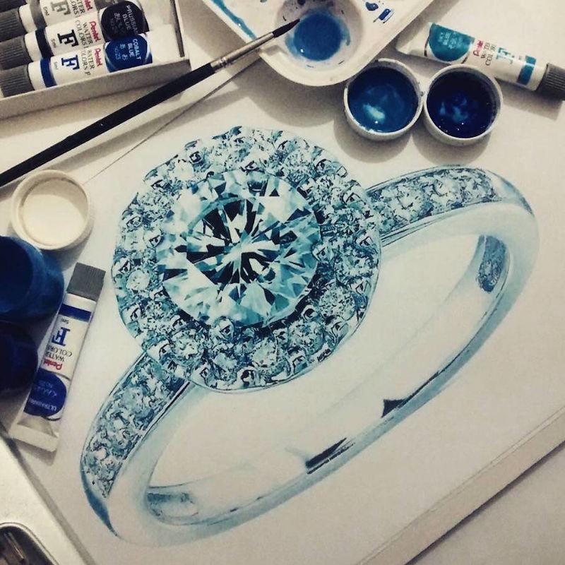 Realistic Gemstone Art