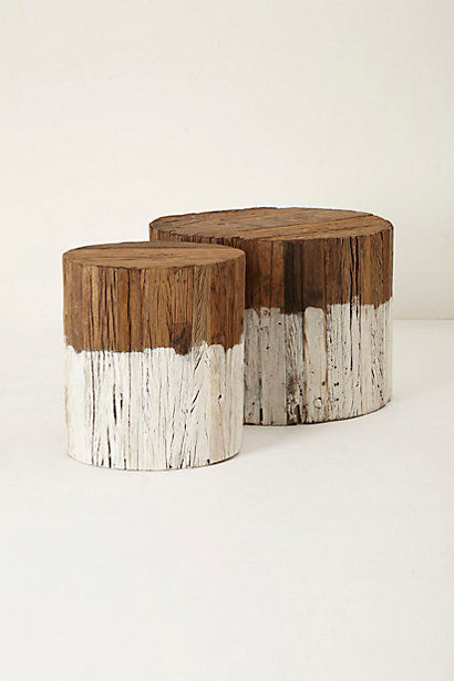 Dip Dyed Tree Stump Furnishings Reclaimed Wood Side Table