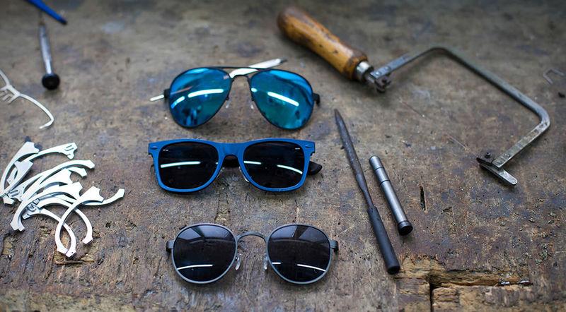 Aluminum Sunglasses  repurposed aluminum sunglasses recycled metal