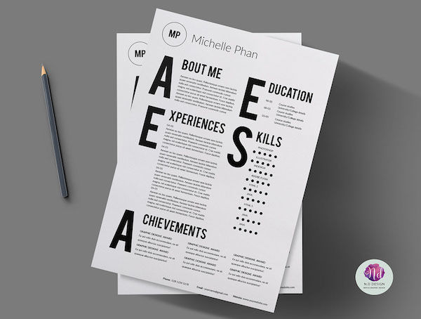 modern typographic cvs   resume template