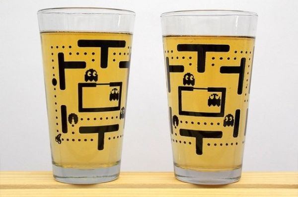 retro arcade game pint glasses