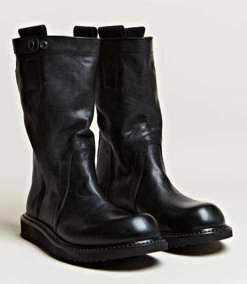 rick owens mens pull on biker boots