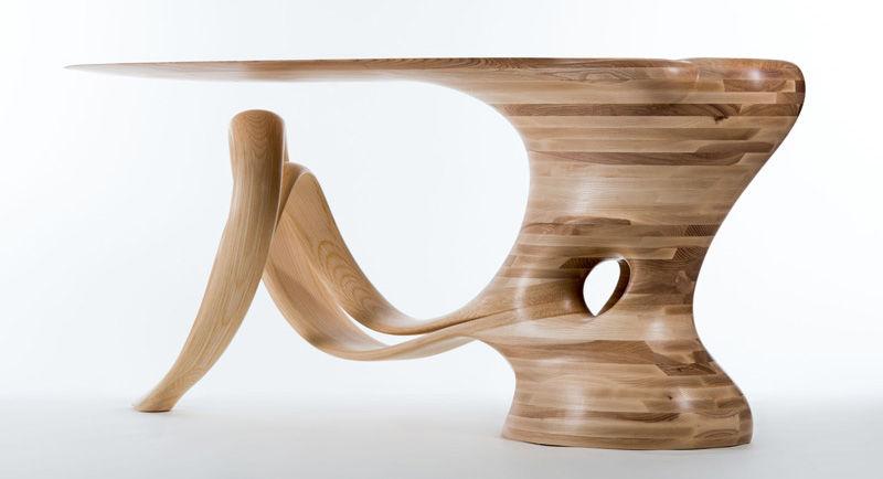 Sculptural Wood Tables