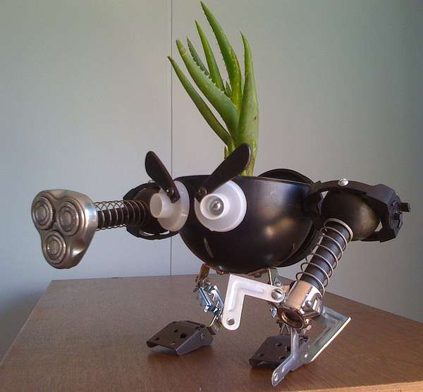 Upcycled Robot Flower Pots
