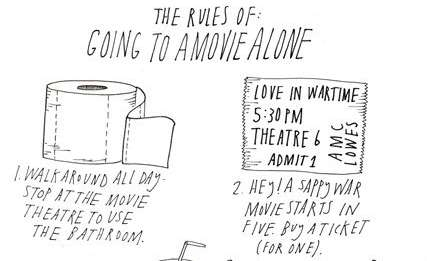 Rules of Going to a Movie Alone