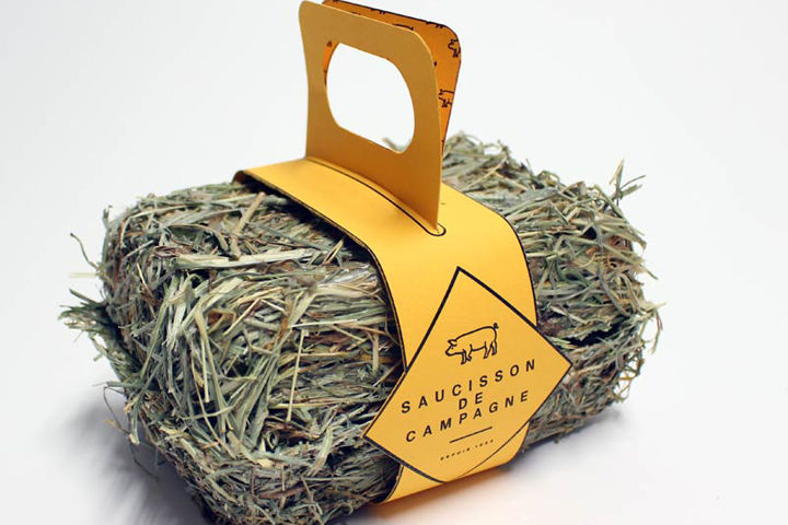 Rustic Hay Sausage Packaging