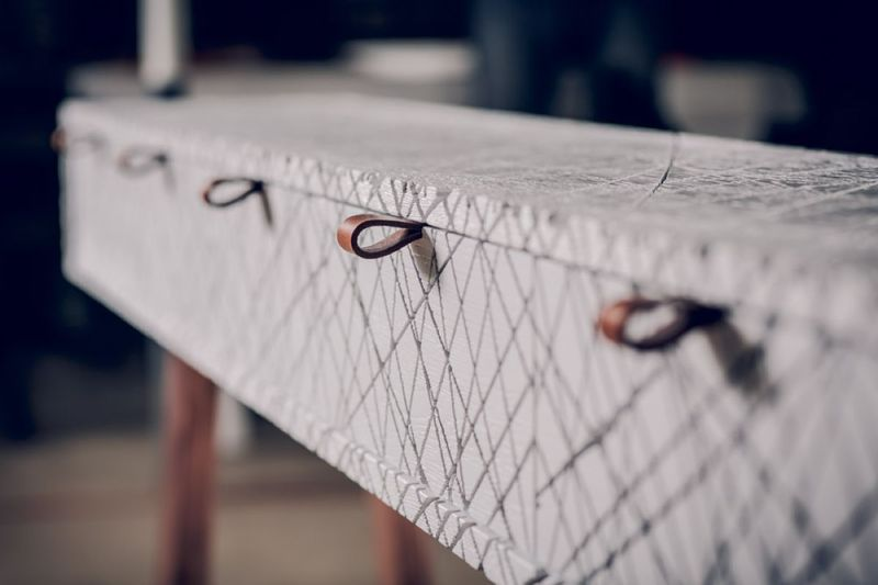 Crosshatched Console Tables
