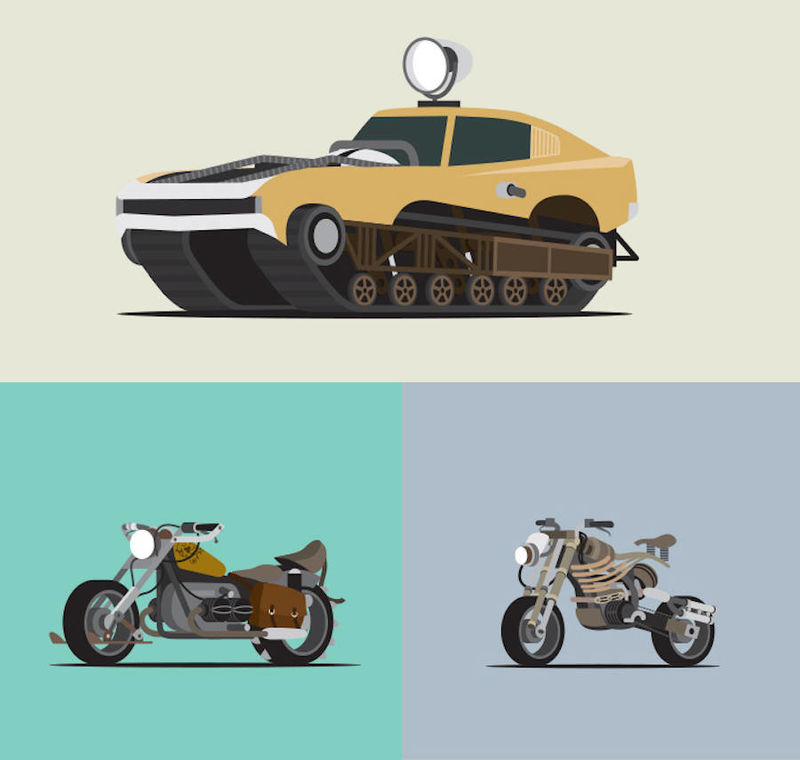 Apocalyptic Vehicle Illustrations