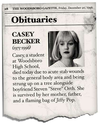 Morbid Movie Announcements : Scream Obituaries