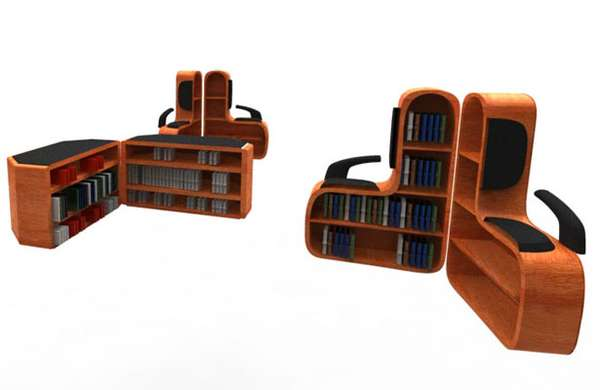 Seating System with Bookshelf