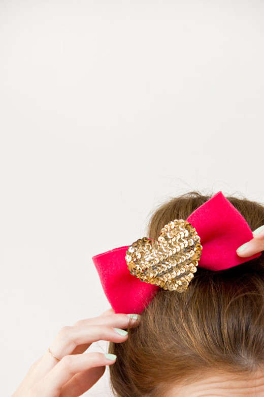 DIY Sequin Heart Headpieces