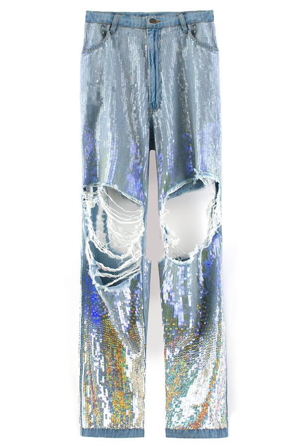Stylishly Torn Sequin Trousers