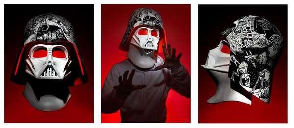Vandalized Sci-Fi Villain Helmets
