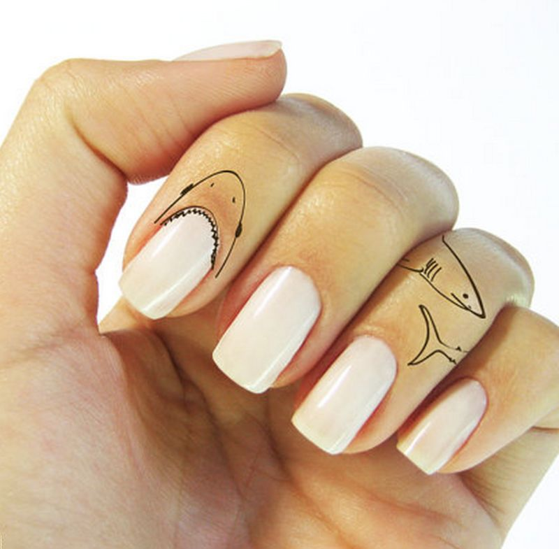 Ferocious temporary tattoos shark finger tattoo for Temporary finger tattoos