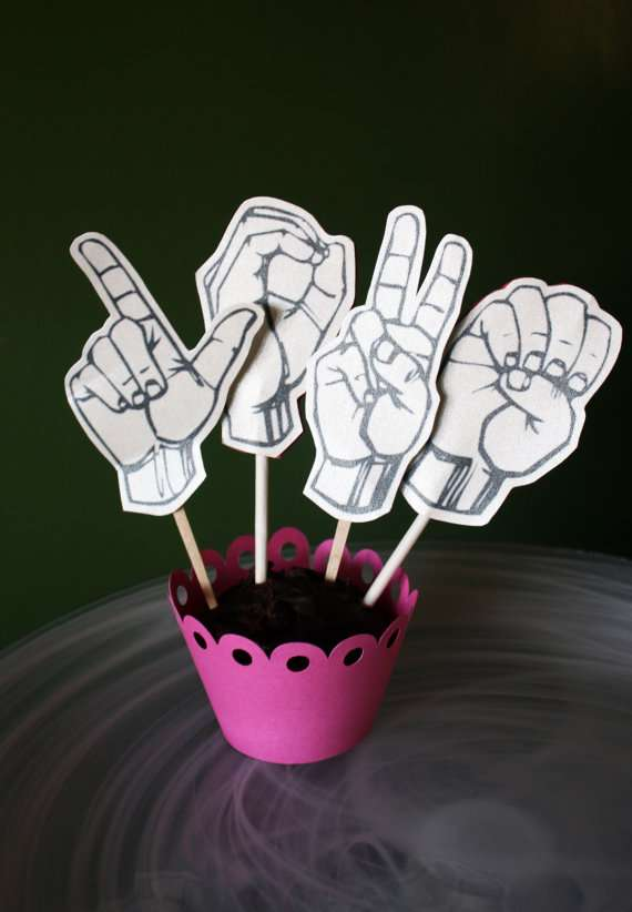 Sign Language Cupcakes Toppers