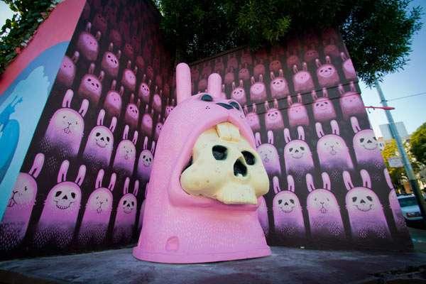 Skeletal Rabbit Statues