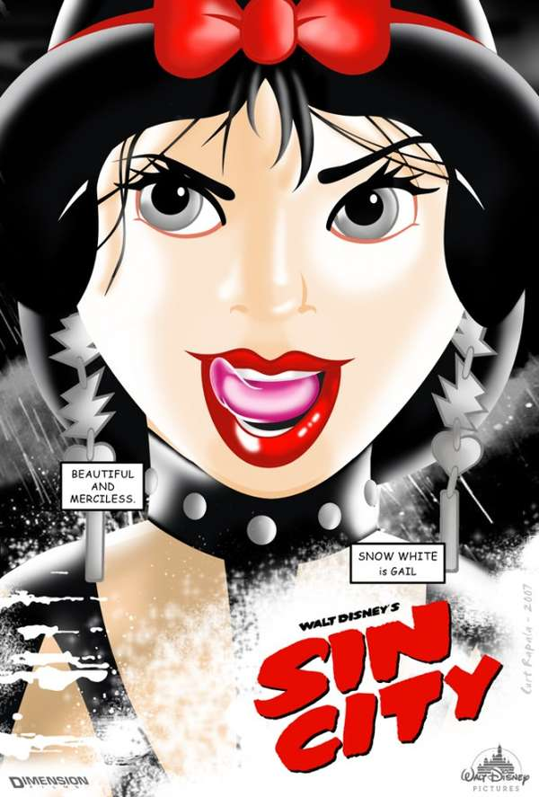 Cartoon Characters Gone Bad : Sensual cartoon heroines sin city disney princess posters