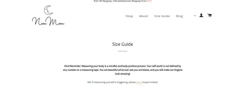 Numberless Lingerie Sizing Systems