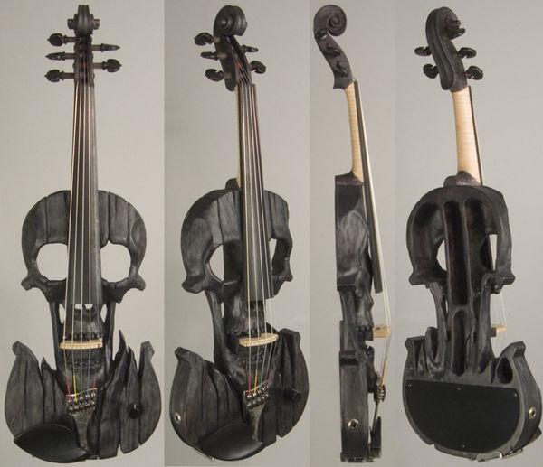Hand-Carved Skull Violins