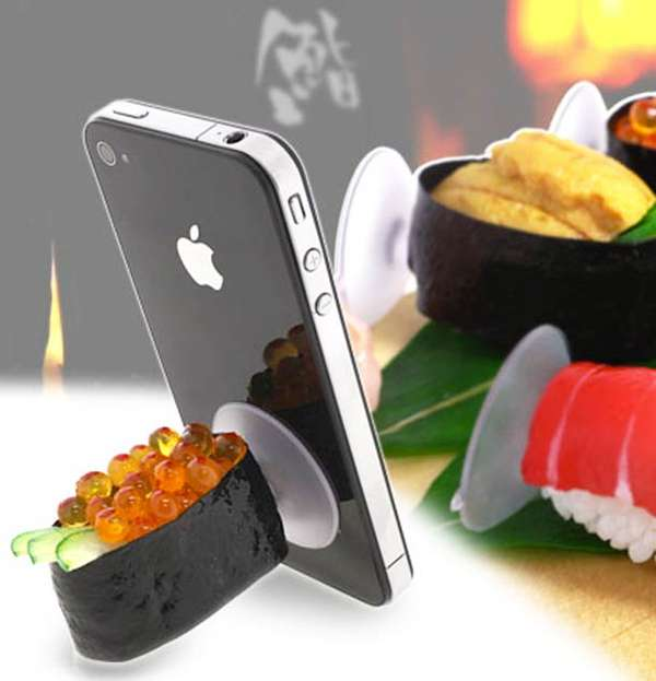 smartphone stands by sushi