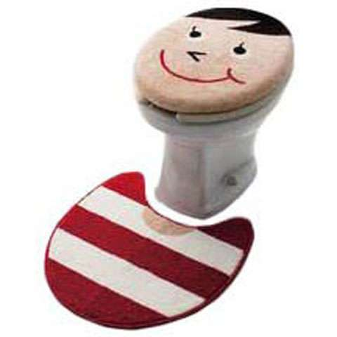 smiling Toilet Seat Cover and Mat Set