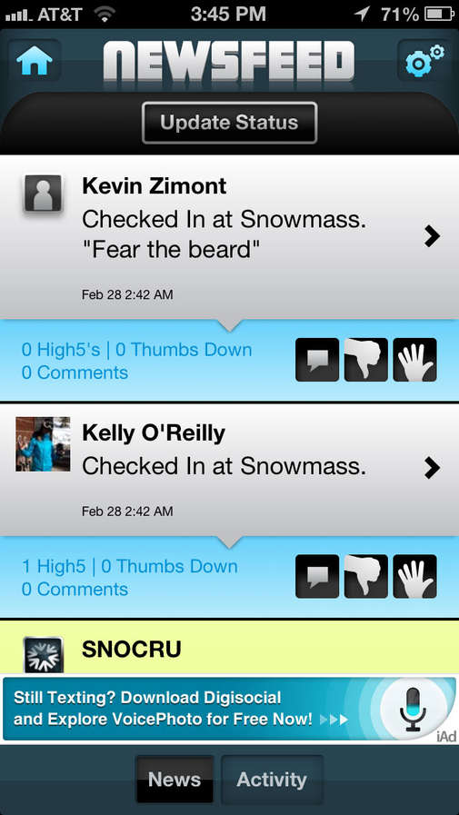 Skiing Socialization Apps
