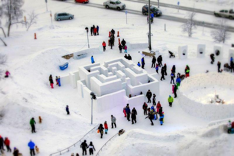 Sculptural Snow Mazes
