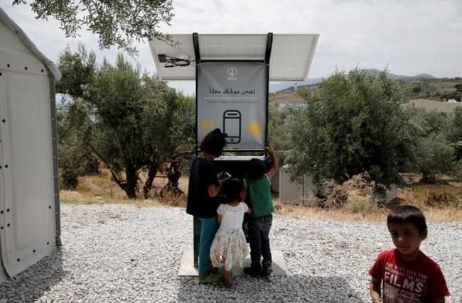 Refugee Smartphone Charging Huts