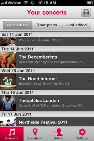 Mobile Concert Calendars