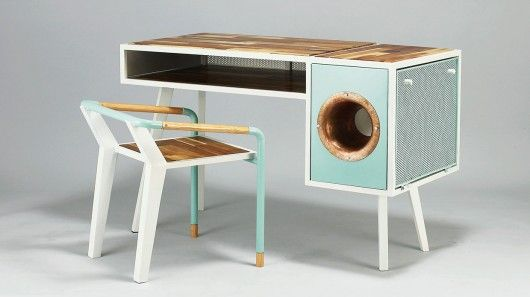 Phonograph-Embedded Desks