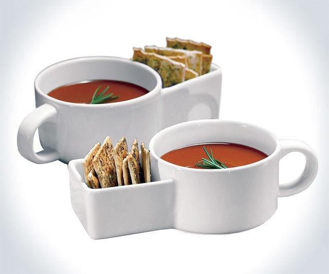 Cracker-Holding Soup Bowls