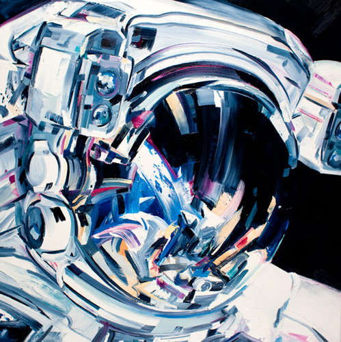 Vibrant Abstract Astronaut Paintings