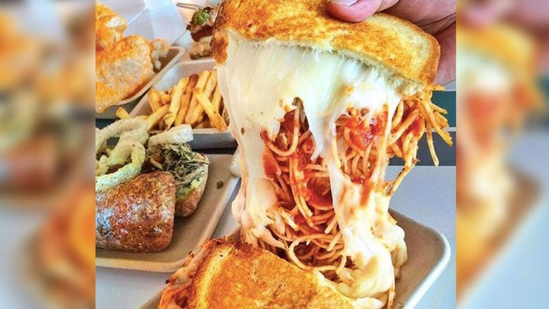 Spaghetti-Stuffed Grilled Cheeses