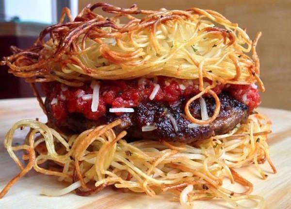 Spaghetti-Themed Burgers