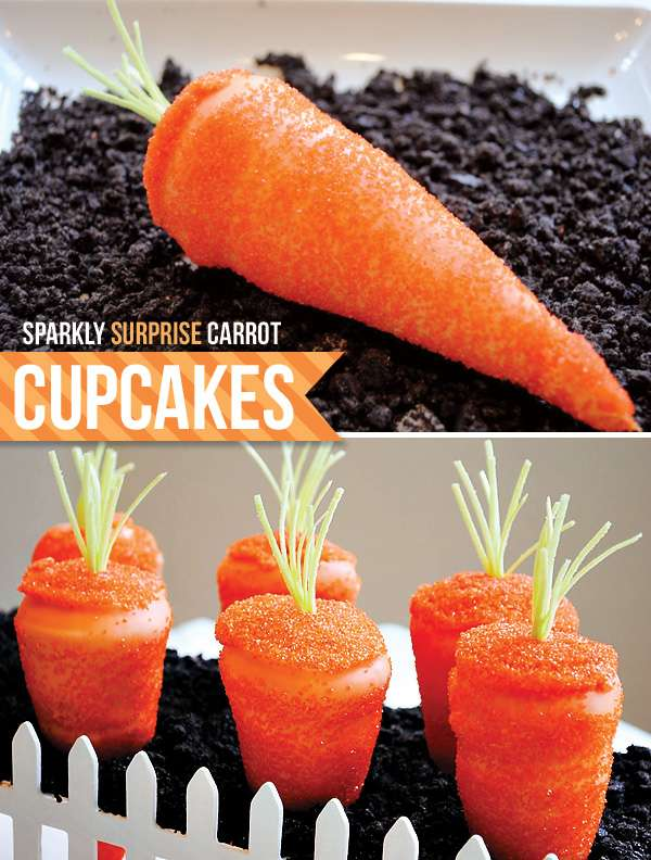 sparkly surprise carrot cupcakes