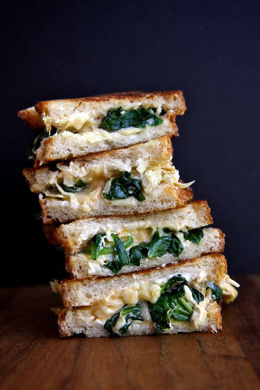 Stacked Antipasti Sandwiches : Spinach and Artichoke Grilled Cheese