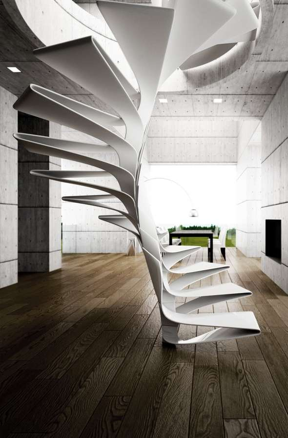 Helical Plexiglass Steps Spiral Staircase Design