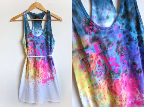 Splash-Dyed Tunic Tee Dress from Two String Jane