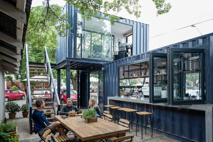 Two Story Shipping Container Cafes Spout Coffee Company