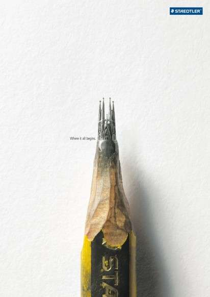 Pencil Tip Sculpture Ads