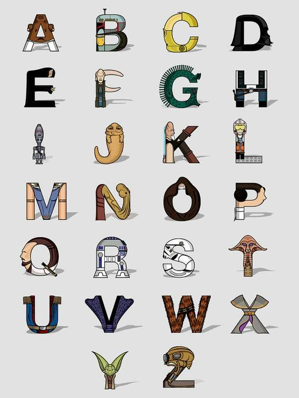 Character Design Letter : Genius galactic typeface star wars alphabet