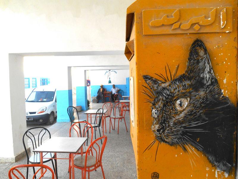 Stenciled Feline Street Art