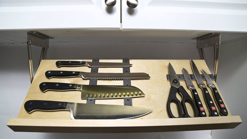 Hidden Magnetic Knife Blocks : storage drawer