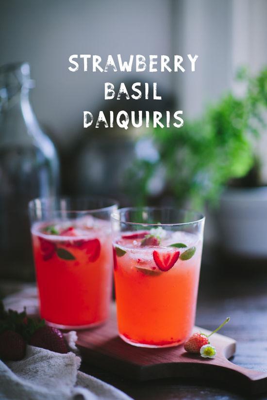 Basil Strawberry Daiquiris