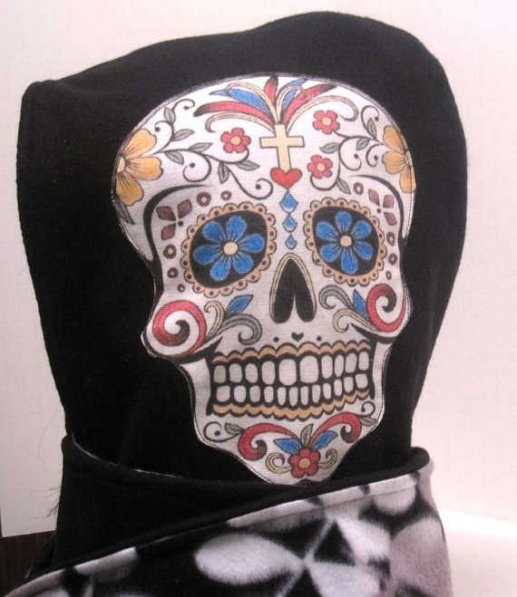 Sugar Skull Hooded Scarf