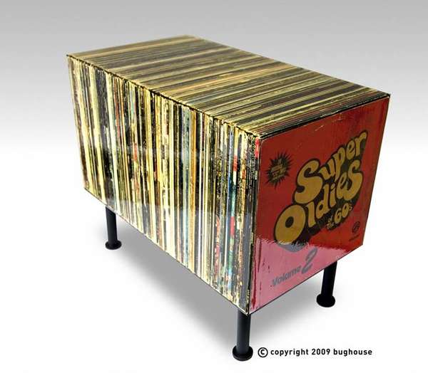 fake retro record tables the super oldies side table only looks like it 39 s made of vinyls. Black Bedroom Furniture Sets. Home Design Ideas