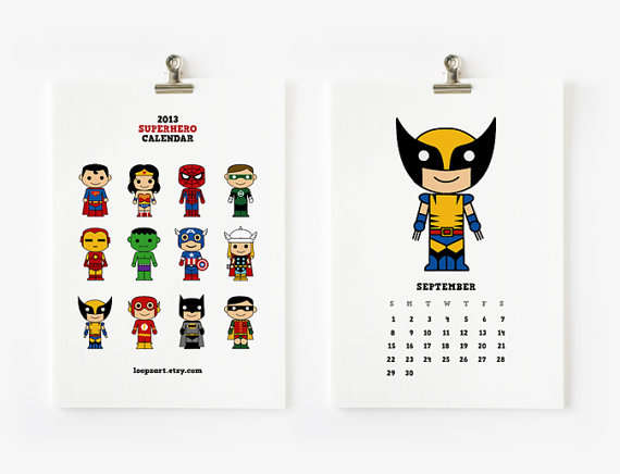 superhero calendar
