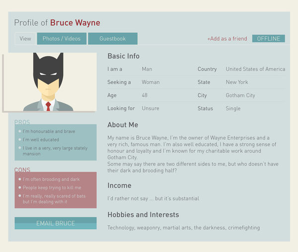 Superhero Dating Profiles