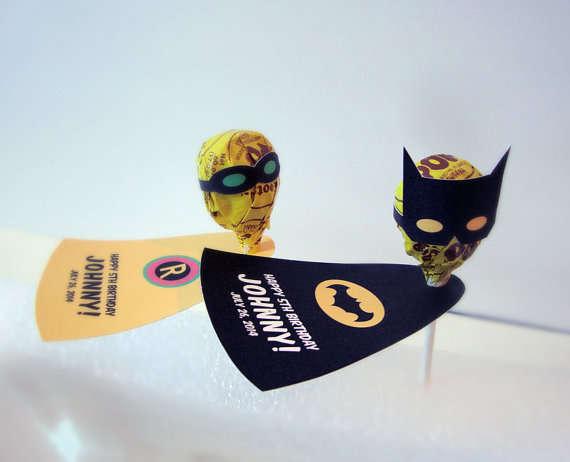 Customizable Superhero Lollipops